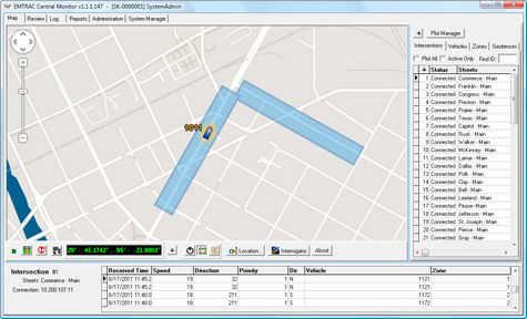 EMTRAC Central Monitor - Automatic Vehicle Location for Transit Signal Priority and Emergency Vehicle Preemption