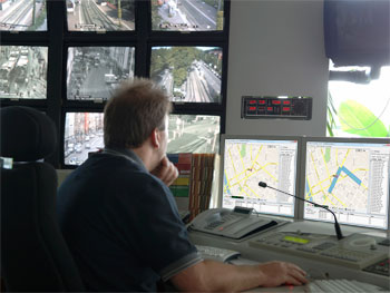Transit Control Center with EMTRAC Central Monitor - Automatic Vehicle Location System